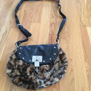 Nine West Faux-fur leopard print crossbody bag
